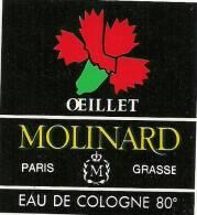 Etiquette Parfum Réf.051. Eau De Cologne Oeillet - Molinard - Grasse, Paris - Etiketten