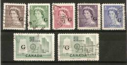 CANADA 1953 - 1961  'G'. OVERPRINTS SET OF 7 STAMPS SG 0196/0201a FINE USED Cat £13 - Officials