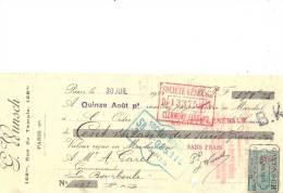 Lettre Change 1920 G WUNSCH Rue Du Temple PARIS Pour La Bourboule 63  - Timbre  Fiscal - Lettres De Change