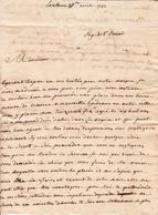 Lettre 19 Avril 1797 Toulouse Haute Garonne  Recherche D'Emploi Dans Une Maison De Commerce Bernadet - Marcophilie (Lettres)