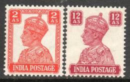 India 1941 - 2a Vermilion & 12a Lake SG270 & 276 MNH Cat £14.50 SG2018 - Must See Description Below - India (...-1947)