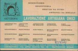 CARTONCINO PUBBLICITARIO ONYXROMA VIA APPIA NUOVA FRATTOCCHIE - Pubblicitari
