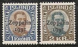 ISLANDIA 1931 - Yvert #A10/11 - MLH * - Aéreo