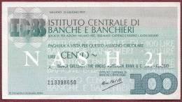 1977 - Italie - Billet De 100 L. Pour L'intérieur Du Pays - - [ 5] Schatzamt