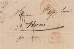 Lettre Précurseur De PONT DE SAMBRE Manuscrit Par MONS 1836 Vers HORNU - Origine MERBES LE CHATEAU  --  UU026 - 1830-1849 (Belgique Indépendante)