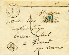 Lettre Précurseur Cachet Type 18 AERSCHOT 1837 Vers DINANT - RARE SR Noir Et SR Bleu  --  UU028 - 1830-1849 (Belgique Indépendante)
