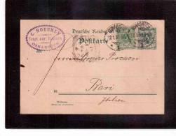 DE245  -   GERMANIA STORIA POSTALE   -   POSTKARTE  OSNABRUECK/BARI    12.1.1898 - Germany