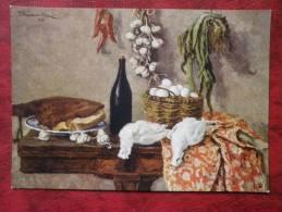 Painting By P. P. Konchalovsky - Still Life,  Ptarmigan , 1953 - Garlic - Wine - Russian Art - Unused - Pintura & Cuadros