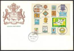 GUYANA 1989 World Scout Jamboree Mondial, Scouting, Souvenir Sheet On FDC Big Size - Scoutismo