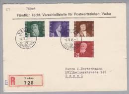 Liechtenstein Flugpost R-ET-Brief Mit Zu#F24-F27 - Poste Aérienne