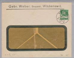 Motiv Bier CH-Privatganzsache 1923-06-08 Gebr.Weber Brauerei Wädenswil 10Rp.Tellbrust Grün - Bières