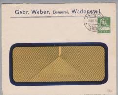 Motiv Bier CH-Privatganzsache 1925-08-26 Zürich Gebr.Weber Brauerei Wädenswil 10Rp.Tellbrust Grün - Bières