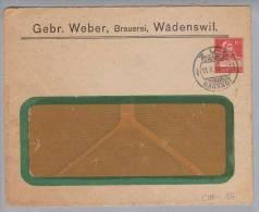 Motiv Bier CH-Privatganzsache 1918-02-13 Zug Gebr.Weber Brauerei Wädenswil 10Rp.Tellbrust Rot - Bières