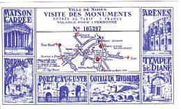 France. Nîmes. Ticket D'entrée 1/2 Tarif. Visite Des Monuments De La Ville De Nîmes. - Sports & Tourisme