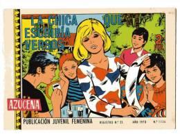 LIVRE - B.D. AZUCENA -LA CHICA QUE ESCRIBIA VERSOS - Publication Juvenil Femenina - ANO 1970 - N°1156 - Livres, BD, Revues