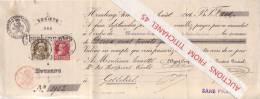Mandat De 1906  - HOUDENG-AIMERIES - CHARBONNAGES DU BOIS-DU-LUC - 2 Timbres Léopold II Grosse Barbe Oblit. HOUDENG - Sin Clasificación
