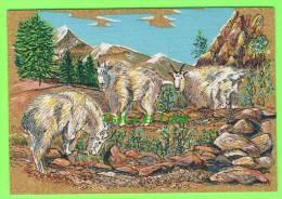 CARTE EN LIÈGE - CORK & ART - PAINTING, WILD GOATS - PEINTURE DE CHÈVRES SAUVAGES - CRÉATION OLBIDECOR - 12 X 18cm - - Cartes Postales