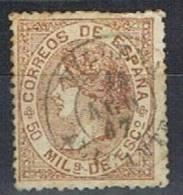 Sello 50 Mils Isabel II 1867, Fechador VILLENA (Alicante), Num 96 º - 1850-68 Reino: Isabel II