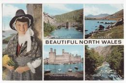BEAUTIFUL NORTH WALES UK MULTIVIEW POSTCARD 1970s ~GIRL WITH ETHNIC COSTUME  [5664] - Wales
