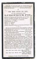 BEVEREN (Roeselare) - ARDOOIE - VINKEM - MOEN  , Doodsprentje Van PASTOOR Ludovicus FOL +  1920 - Unclassified