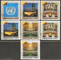 Bhutan 1971 Mi# 486-492 Used - Overprinted / World Refugee Year - Bhutan