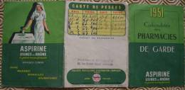Calendrier Des Pharmacies De Garde 1951 - Aspirine - Publicité