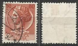 # 1953 Turrita 80 Lire Con Filigrana Lettere 10/10 Destra - 1946-60: Gebraucht
