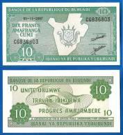 Burundi 10 Francs 2007 Neuf Uncirculated Prefix CG  Uniquement Prix + Frais De Port Frcs Afrique Frc Paypal Skrill OK! - Burundi