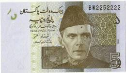 PAKISTAN NEW 5RS SEMI FANCY NUMBER BW2252222 UNC 2008 - Pakistán