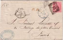ITALIE - GENOVA LE 24-9-1874 - CACHET ITALIE MODANE DU 26-9 - LETTRE POUR PARIS. - 1861-78 Victor Emmanuel II.