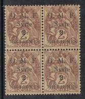 """SYRIE N°22 N** En Bloc De 4, Variété Petit Point Après """"F"""" - Syrie (1919-1945)"""
