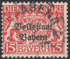 Bavaria, 15 Pf. 1919, Sc # O24, Mi # 34, Used - Bavière