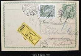 14201 Recommandé De Eger 2 (3 X 10) Vers Abo (11 X 10) Finlande , Entier Surchargé D´un Timbre, 1908 - Tchécoslovaquie