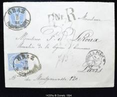 14205 GRAZ RECOMMANDIRT Nach Frankreich Recommandé De Graz Vers Paris Via Salzbourg, Absent, Sceau En Cire,  09/08/1886 - 1850-1918 Empire
