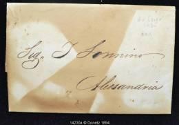 14230 DISINFECTED MAIL Caire Vers Alexandrie , Désinfecté (marque De Chauffe) , 1835 - Égypte