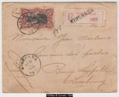 15568 Congo, Recommandé De Kinshasa à Bourg Léopold, Sceau 10/05/1919, (COB 69)