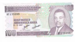 BILLET DE BANQUE 100 FRANCS AMAFRANGA IJANA BURUNDI - Burundi