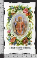XsaCal61 S. San DAVID VESCOVO DI MENEVIA RHOS CARLEON Santino Holy Card - Religion & Esotericism