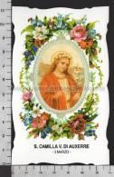 XsaCal63 S. Santa CAMILLA VERGINE DI AUXERRE ESCOULIVES Santino Holy Card - Religione & Esoterismo