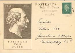 3352. Entero Postal LEIPZIG 1931 (Alemania Reich) , Baron Von Stein - Germany