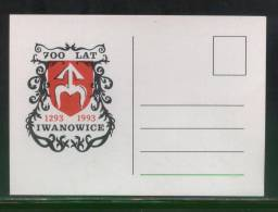 POLAND 1993 700 YEARS OF IWANOWICE 1293-1993 PRIVATE POSTAL CARD TOWN CREST - Poland