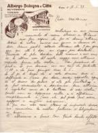 Albergo Bologna E Città. Ristorante. TORINO Corso Vittorio Emanuele 60. Lettera Su Carta Intestata. 1937 - Italia