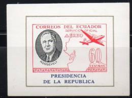 Ecuador - Equateur 1949, MNH S/S Imperf/non-dentele (Roosevelt, PRESIDENCIA - AEREO SERVICIO OFICIAL  60 CT) - Equateur