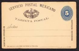 O) 1899 MEXICO, COAT OF ARMS, 5 CENTS,POSTAL STATIONARY INTERIOR SERVICE.- - Mexico