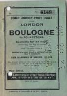 Single Journey Party Ticket From London To Boulogne Via Folkestone - 12th March 1936 , Couv + 4 P. - Billets D'embarquement De Bateau