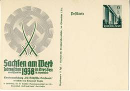 1938 Germany Special Post Card For The Exhibition In Dresden Sachsen, Unused - Covers & Documents