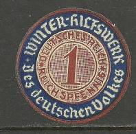 Deutschland Alte Vignette Werbung Propaganda 1 RPf Für Winter-Hilfswerk Des Deutschen Volkes - Duitsland