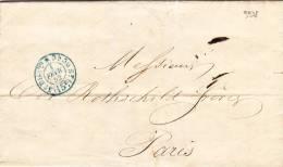 9938# LETTRE De PARIS Obl (15c) 3 ème DISTRIBUTION * BLEU 1852 - Marcophilie (Lettres)