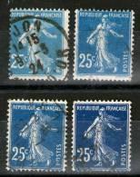 4 Teintes Du N°140°= Bleu Clair-bleu-bleu Métal-bleu Noir_voir Scan_ - 1906-38 Semeuse Camée