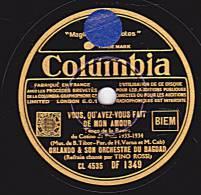 78 Tours - Columbia DF 1349 - EX - ORLANDO ET SON ORCHESTRE DE BAGDAD - QU'AVEZ-VOUS FAIT DE NOTRE AMOUR - LA VIRUTA - 78 Rpm - Schellackplatten